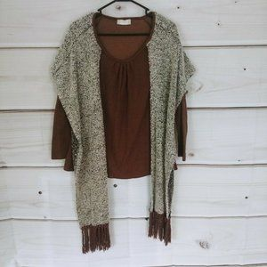 Altar'd State Pullover BOHO Rugged Wear Top Scarf